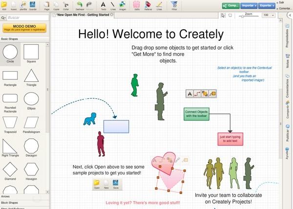 Creately: diagramas y esquemas en tu navegador