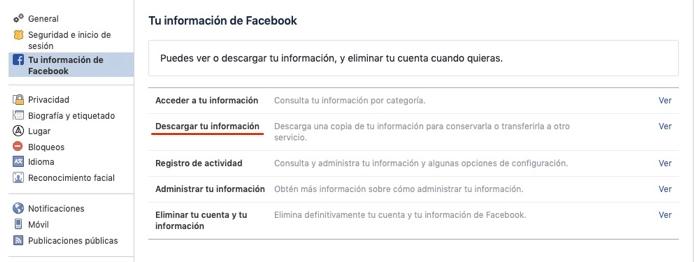 Cómo descargar una copia del perfil de Facebook