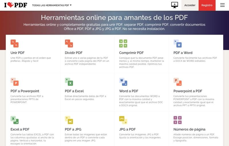 I love PDF: para convertir PDF, unirlos, separarlos y más