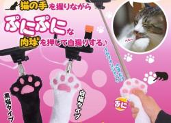 Un palo de selfie con forma de patita de gato