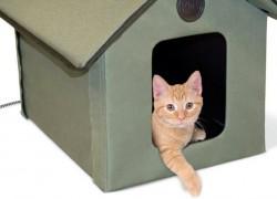 Casa de exterior plegable y calefactable para tu gato