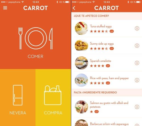 Carrot te propone recetas según los ingredientes que tengas