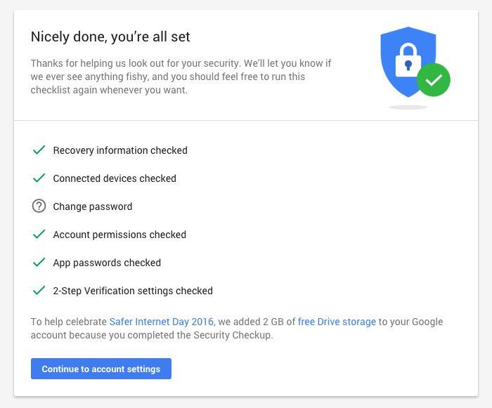 Gana 2 GB de espacio extra gratis en tu cuenta de Google por revisar tu seguridad