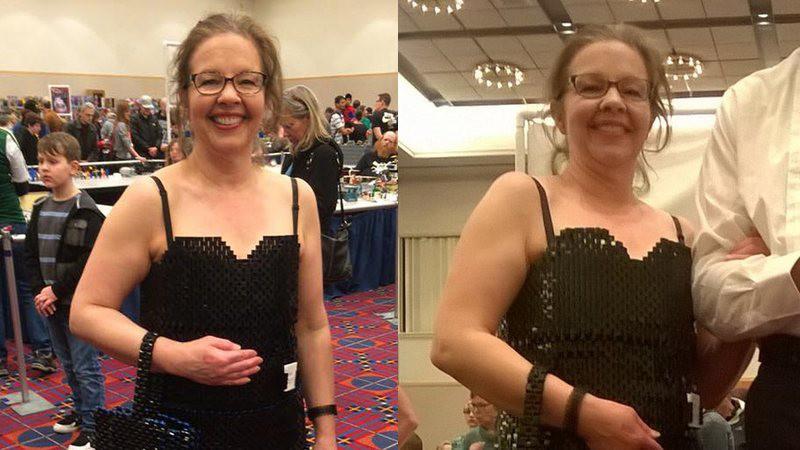 Un vestido para mujer hecho con 12.000 piezas de LEGO