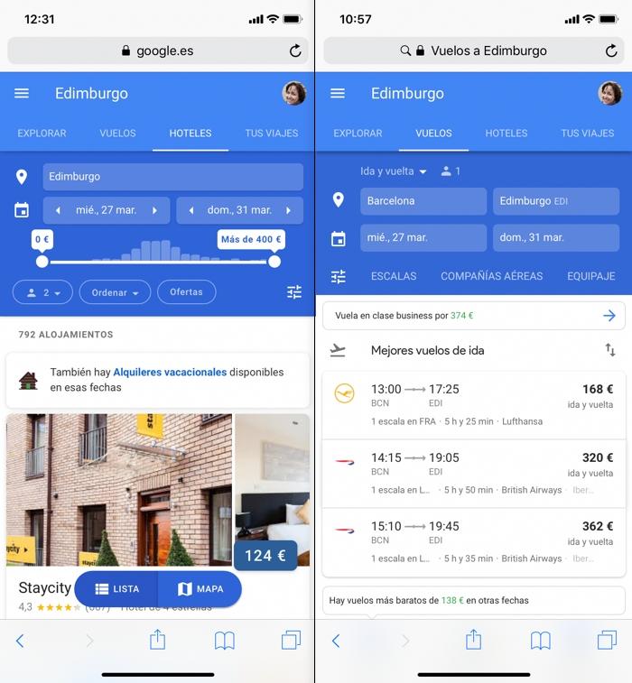 Planifica tus vacaciones desde el móvil con Google