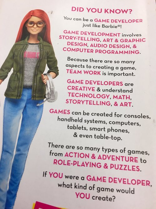 Barbie anima a las niñas a ser programadoras de videojuegos
