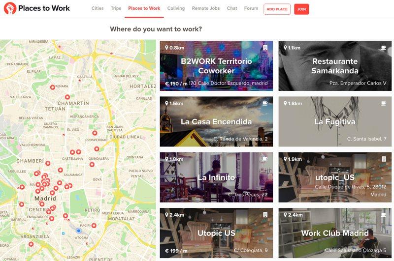 Encuentra sitio para trabajar fácilmente en cualquier ciudad