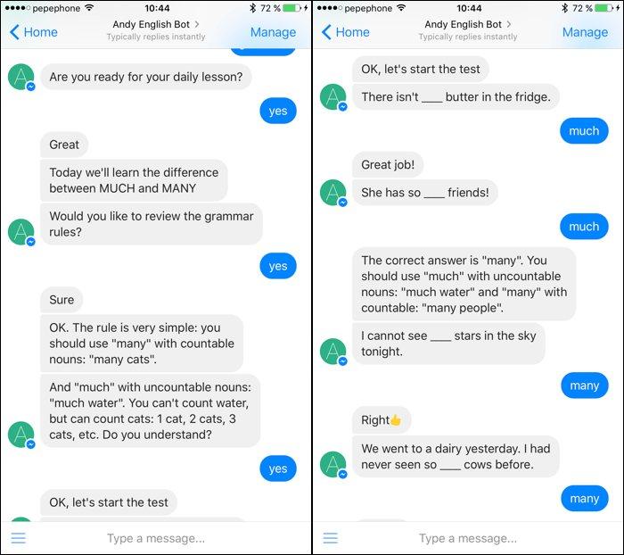 Andy, el bot de Facebook Messenger para mejorar tu inglés