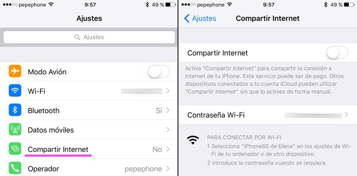 Cómo compartir Internet en tu Android o iPhone