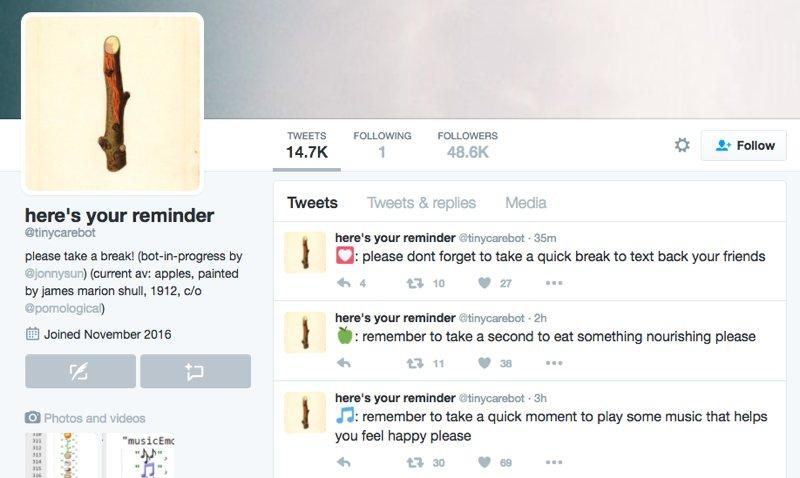 TinyCareBot, un bot de Twitter que se preocupa por ti