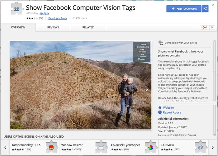 """Una extensión de Chrome que te muestra qué está """"viendo"""" Facebook en tus fotos"""