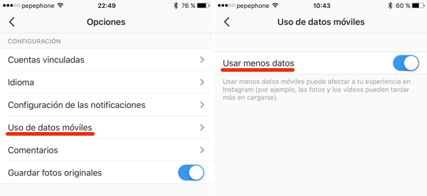 Cómo ahorrar datos móviles en tus apps de redes sociales