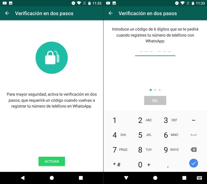 Cómo activar la verificación en dos pasos en WhatsApp