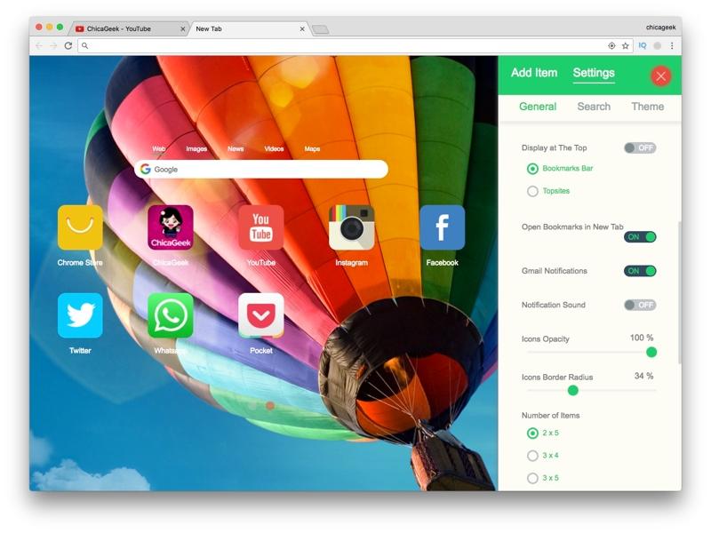 Infinity New Tab, tu nueva pestaña de inicio en Chrome