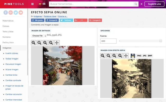 PineTools: práctica recopilación de herramientas online gratis