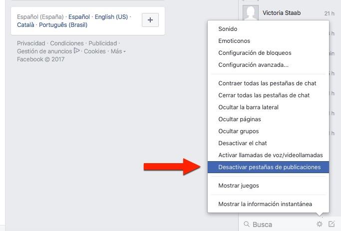 Cómo desactivar las pestañas de publicaciones en Facebook