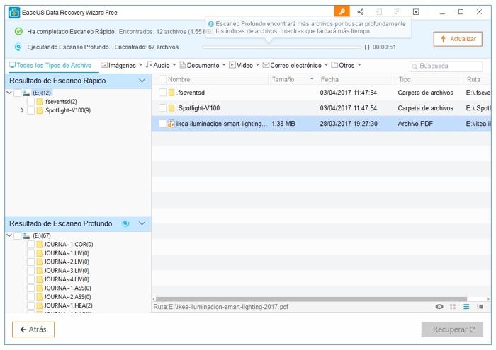 Recupera ficheros borrados por accidente con EaseUS Data Recovery Wizard