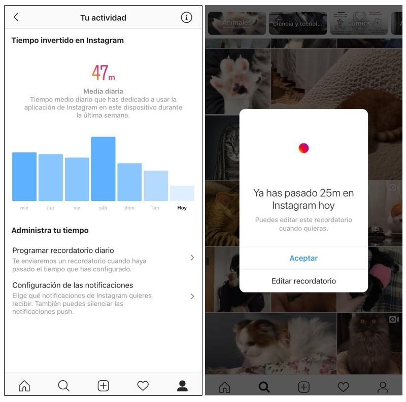 Controla el tiempo que pasas en Instagram